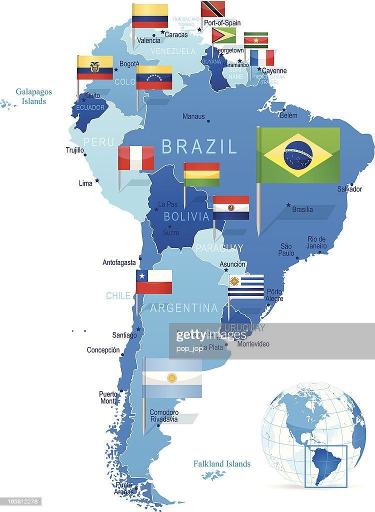 South America Map With Flags Vector Art Getty Images - Brazil south america map