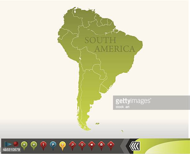 South America map with navigation icons