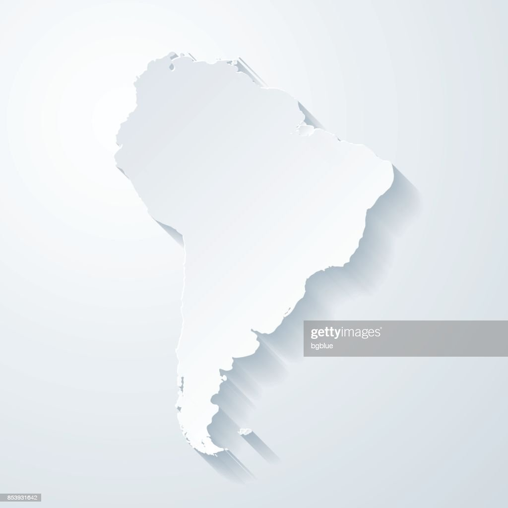 South America Map With Paper Cut Effect On Blank Background Vector