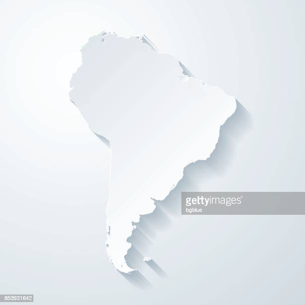 South America map with paper cut effect on blank background