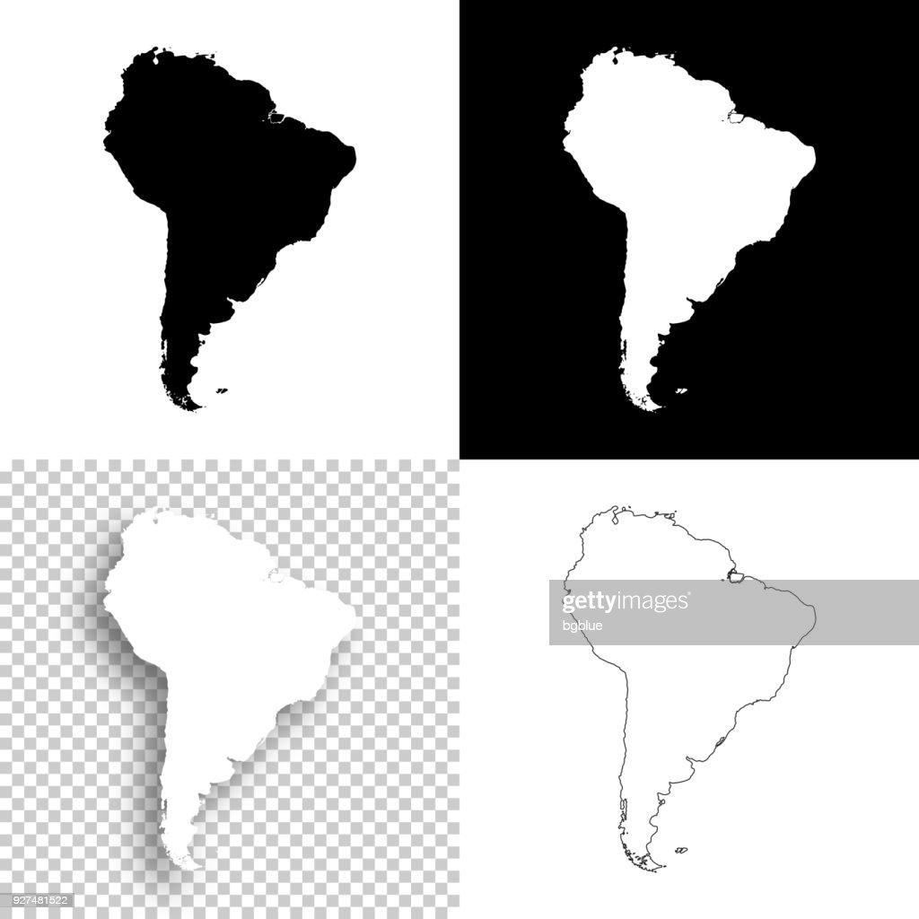 設計 - 南アメリカ地図の空白、白と黒の背景 : ストックイラストレーション
