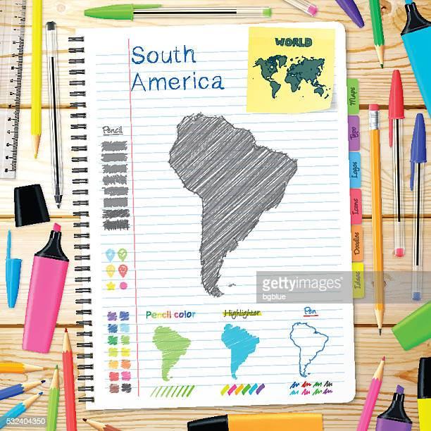 ilustraciones, imágenes clip art, dibujos animados e iconos de stock de américa del sur mapa dibujado a mano sobre cuaderno. fondo de madera - islas malvinas