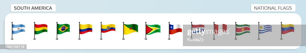 South America national flags