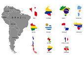 South America. Territories of countries on South America continent. Separate countries with flags. List of countries in South America. White background. Vector illustration