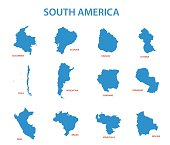 south america - vector maps of countries
