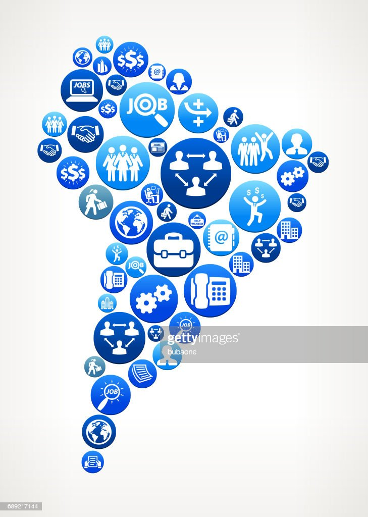 South America Work and Employment Blue Vector Button Pattern : Stock Illustration