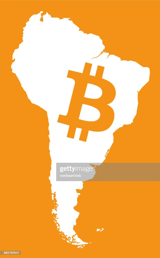 south american continent map with bitcoin crypto currency symbol