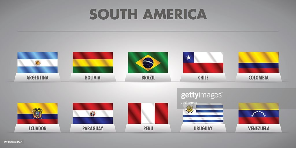 South American countries vector flags.