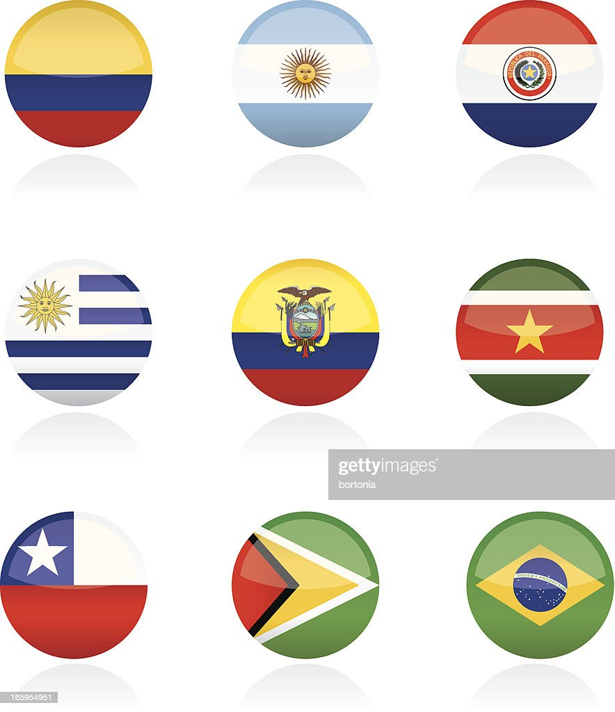 South American Country Flag Buttons