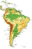 South America-physical map
