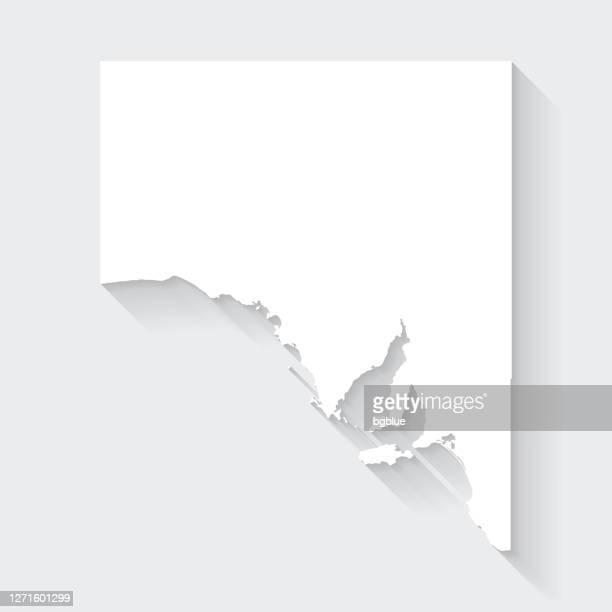 südaustralien karte mit langem schatten auf leerem hintergrund - flat design - südaustralien stock-grafiken, -clipart, -cartoons und -symbole