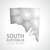 South Australia polygonal grey and silver vector mosaic map