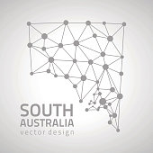 South Australia vector grey polygonal triangle modern map