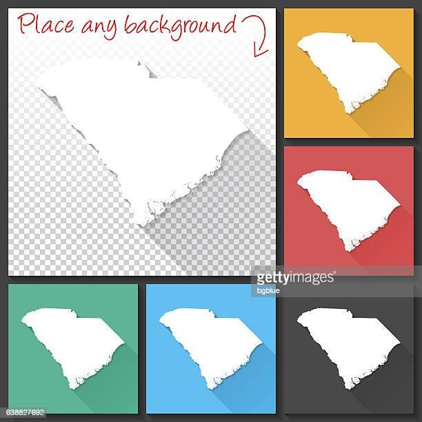 bildbanksillustrationer, clip art samt tecknat material och ikoner med south carolina map for design, long shadow, flat design - north carolina amerikansk delstat