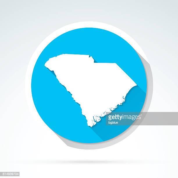 south carolina map icon, flat design, long shadow - columbia south carolina stock illustrations