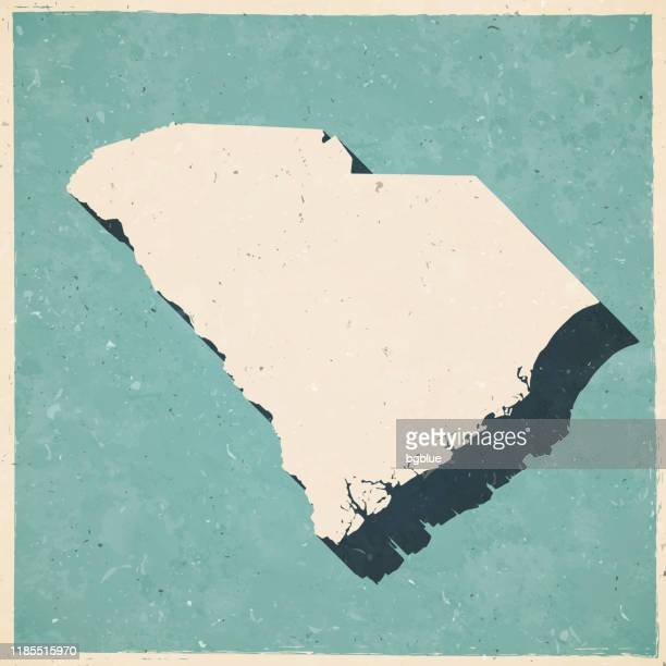 south carolina map in retro vintage style - old textured paper - columbia south carolina stock illustrations