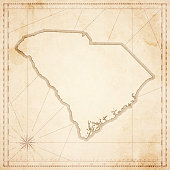 South Carolina map in retro vintage style - old textured paper