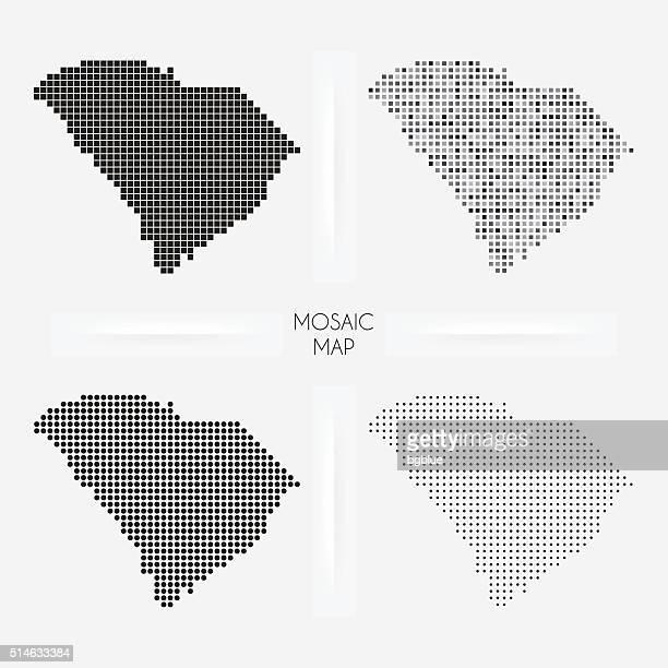 south carolina maps - mosaic squarred and dotted - north carolina us state stock illustrations