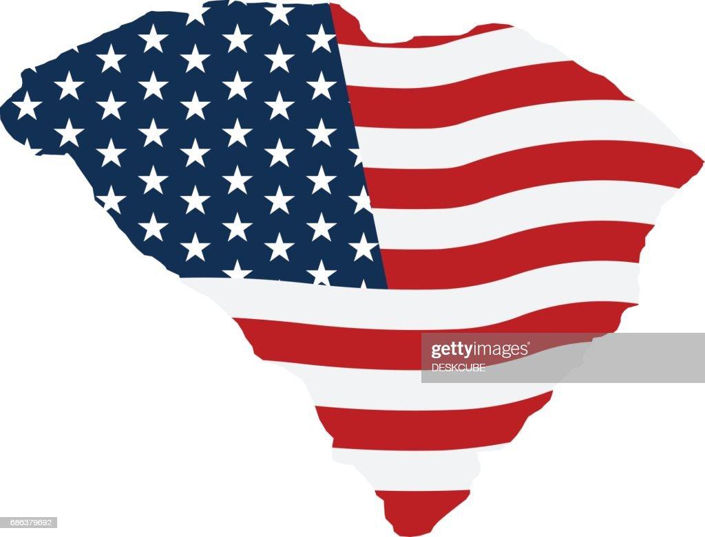 South Carolina patriotic map graphic. Vector design illustration