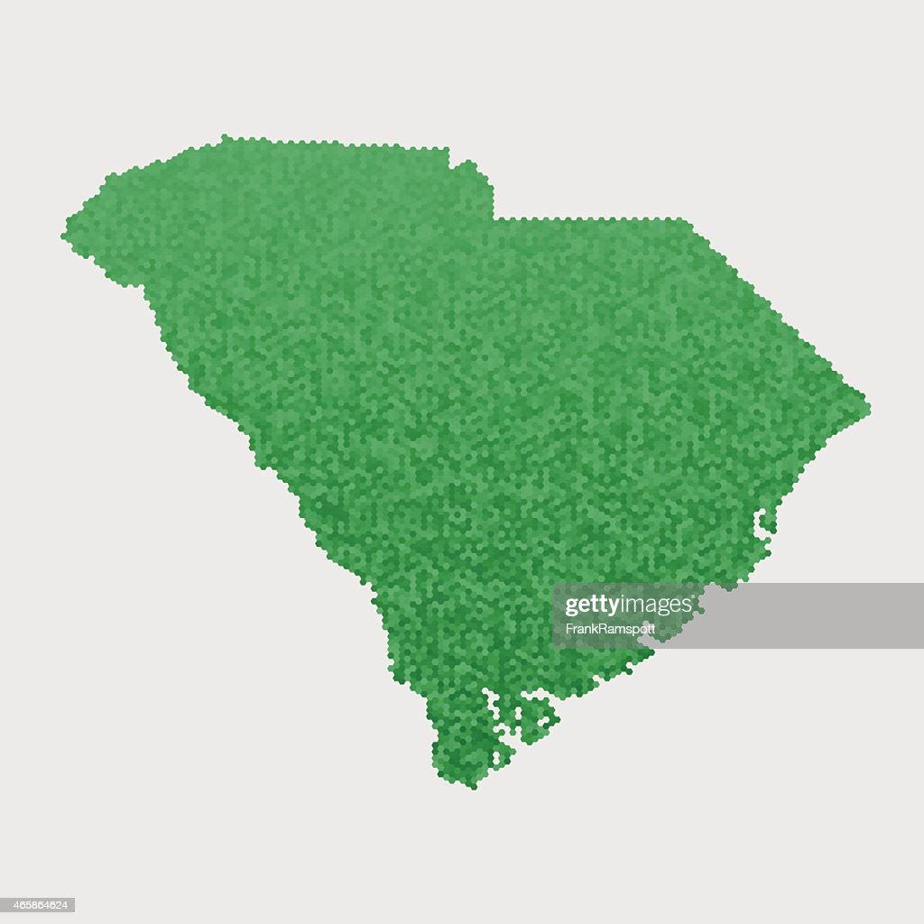 South Carolina State Map Green Hexagon Pattern Vector Art | Getty Images