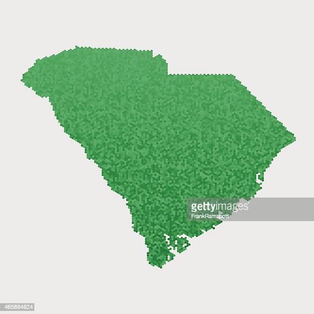South Carolina State Map Green Hexagon Pattern