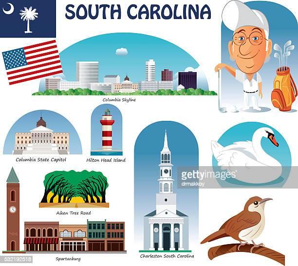 south carolina symbols - columbia south carolina stock illustrations