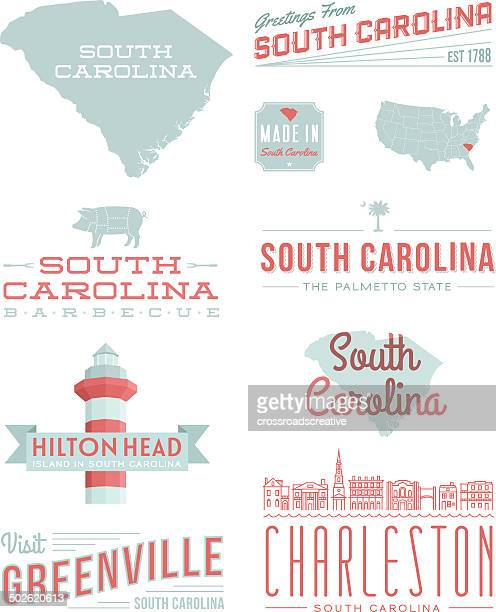 south carolina typography - south carolina stock illustrations