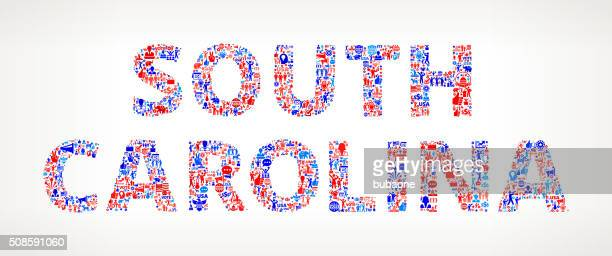 South Carolina Vote and Elections USA Patriotic Icon Pattern