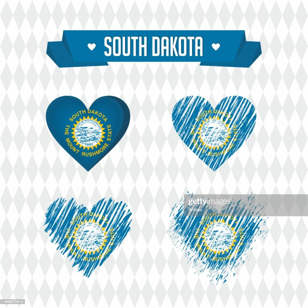 South Dakota. Collection of four vector hearts with flag. Heart silhouette