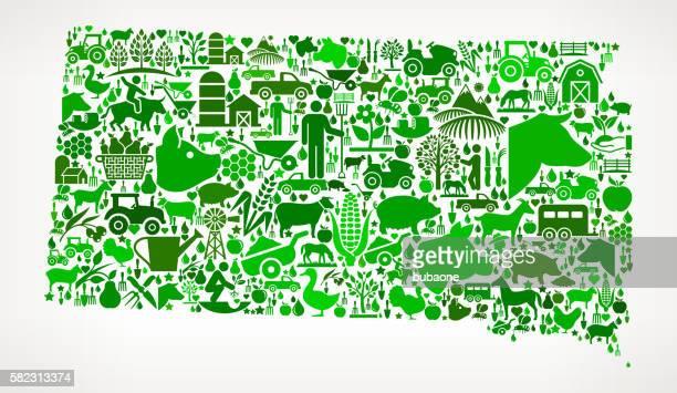 south dakota farming and agriculture green icon pattern - south dakota stock illustrations, clip art, cartoons, & icons