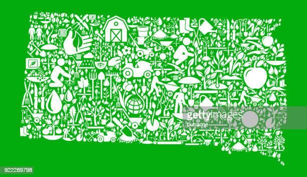 south dakota garden and gardening vector icon pattern - south dakota stock illustrations, clip art, cartoons, & icons