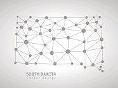 South Dakota grey perspective mosaic dot trendy vector map