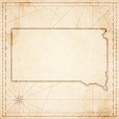South Dakota map in retro vintage style - old textured paper