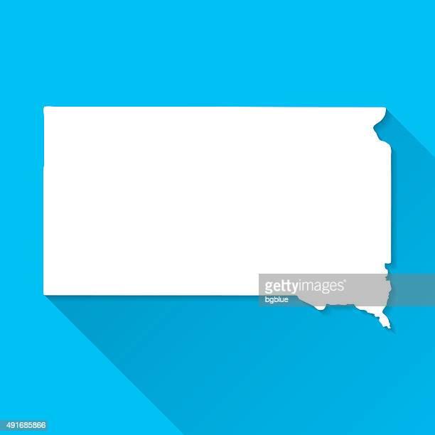 south dakota map on blue background, long shadow, flat design - south dakota stock illustrations, clip art, cartoons, & icons