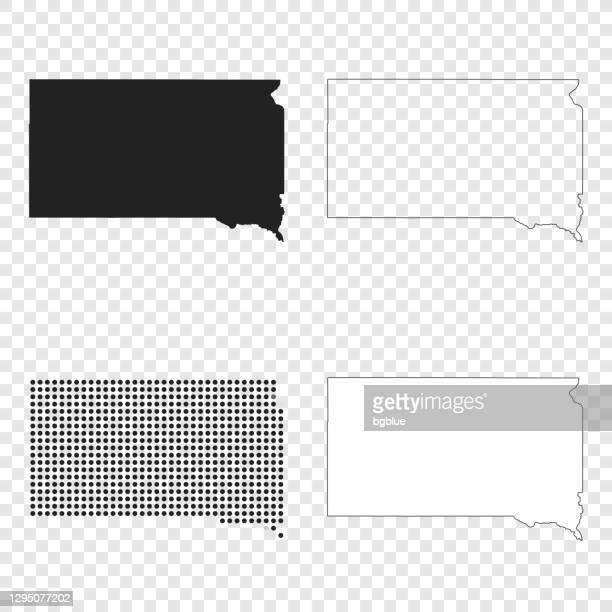 south dakota maps for design - black, outline, mosaic and white - south dakota stock illustrations