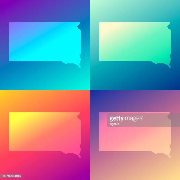 south dakota maps with colorful gradients - trendy background - south dakota stock illustrations, clip art, cartoons, & icons