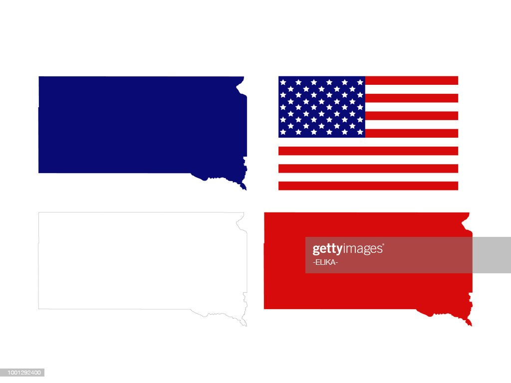 South Dakota maps with USA flag