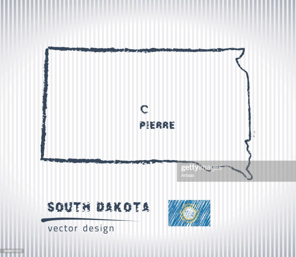 South Dakota national vector drawing map on white background