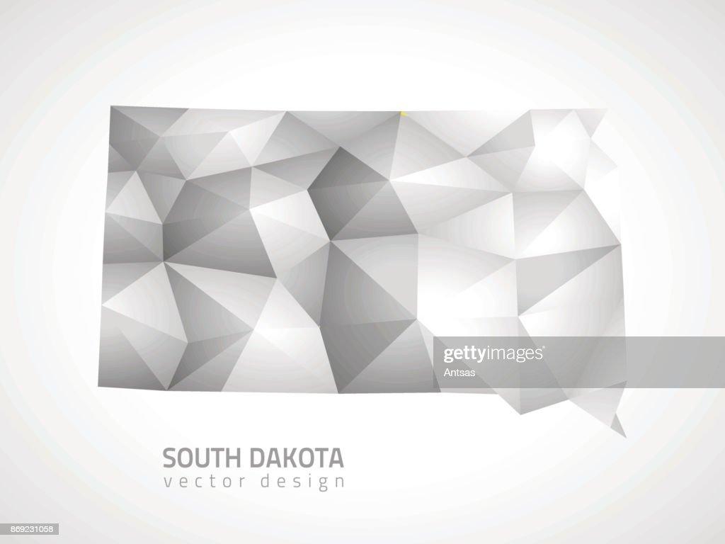 South Dakota polygonal grey vector map of America