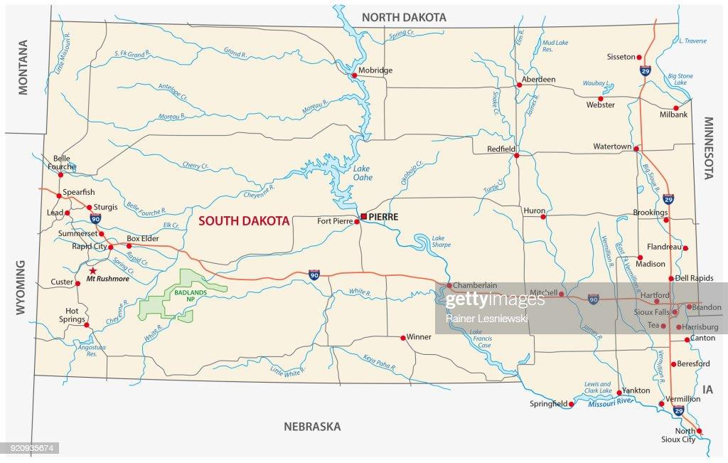 south dakota road map