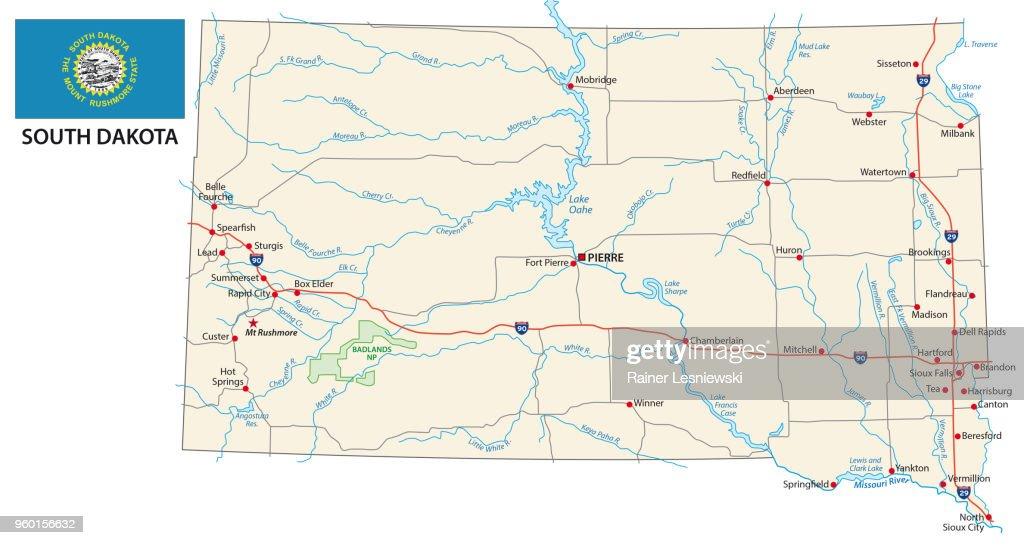 south dakota road map with flag