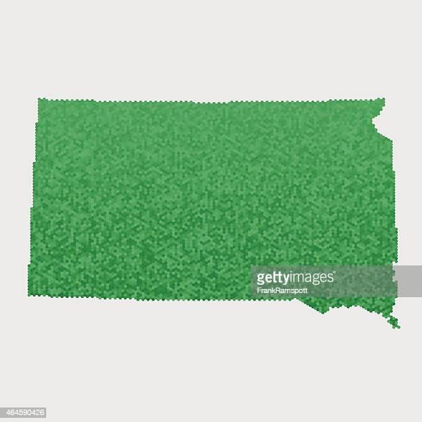 South Dakota State Map Green Hexagon Pattern