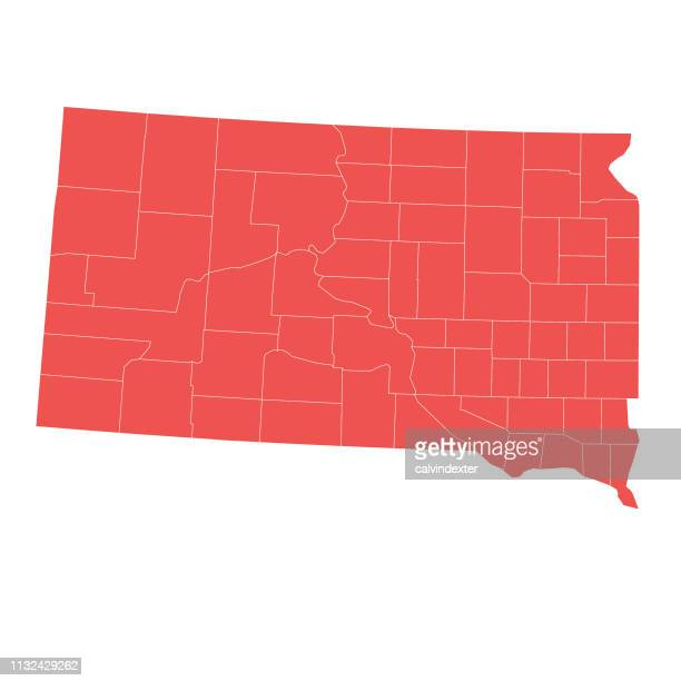 south dakota state map with counties - south dakota stock illustrations, clip art, cartoons, & icons