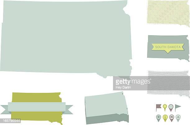 south dakota state maps - south dakota stock illustrations, clip art, cartoons, & icons