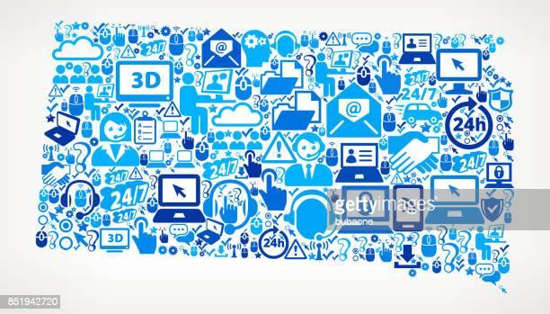 south dakota tech support vector icon pattern - south dakota stock illustrations, clip art, cartoons, & icons