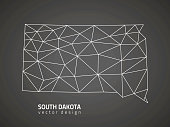 South Dakota vector black triangle mosaic outline map