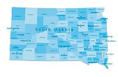 South Dakota Vector Map Isolated