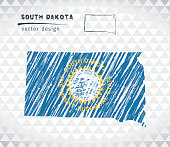 South Dakota vector map with flag inside isolated on a white background. Sketch chalk hand drawn illustration
