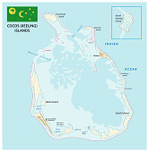 South keeling islands map with flag