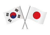 South Korea and Japan flags. Vector illustration.